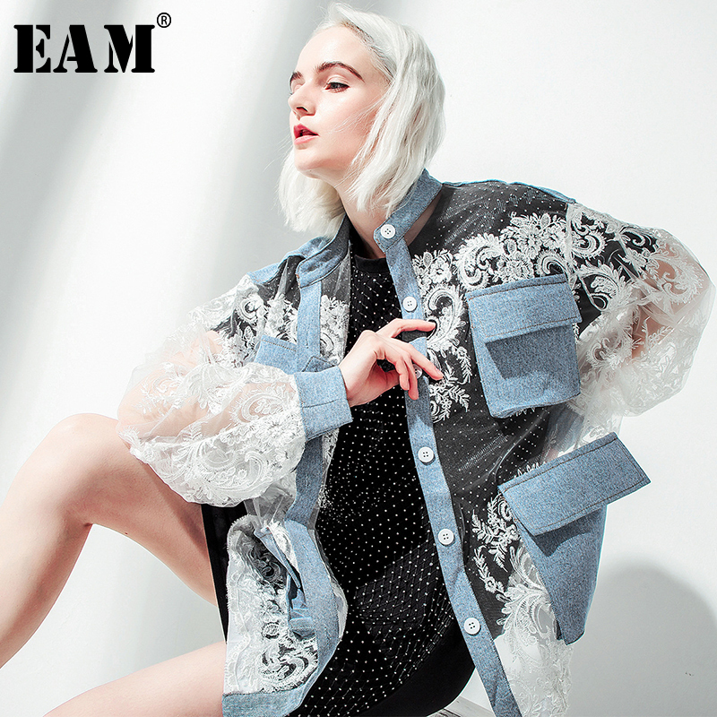 [EAM] 2019 New Autumn Winter Stand Collar Long Sleeve Blue Denim Lace Split Joint Big Size Jacket Women Coat Fashion Tide JU301