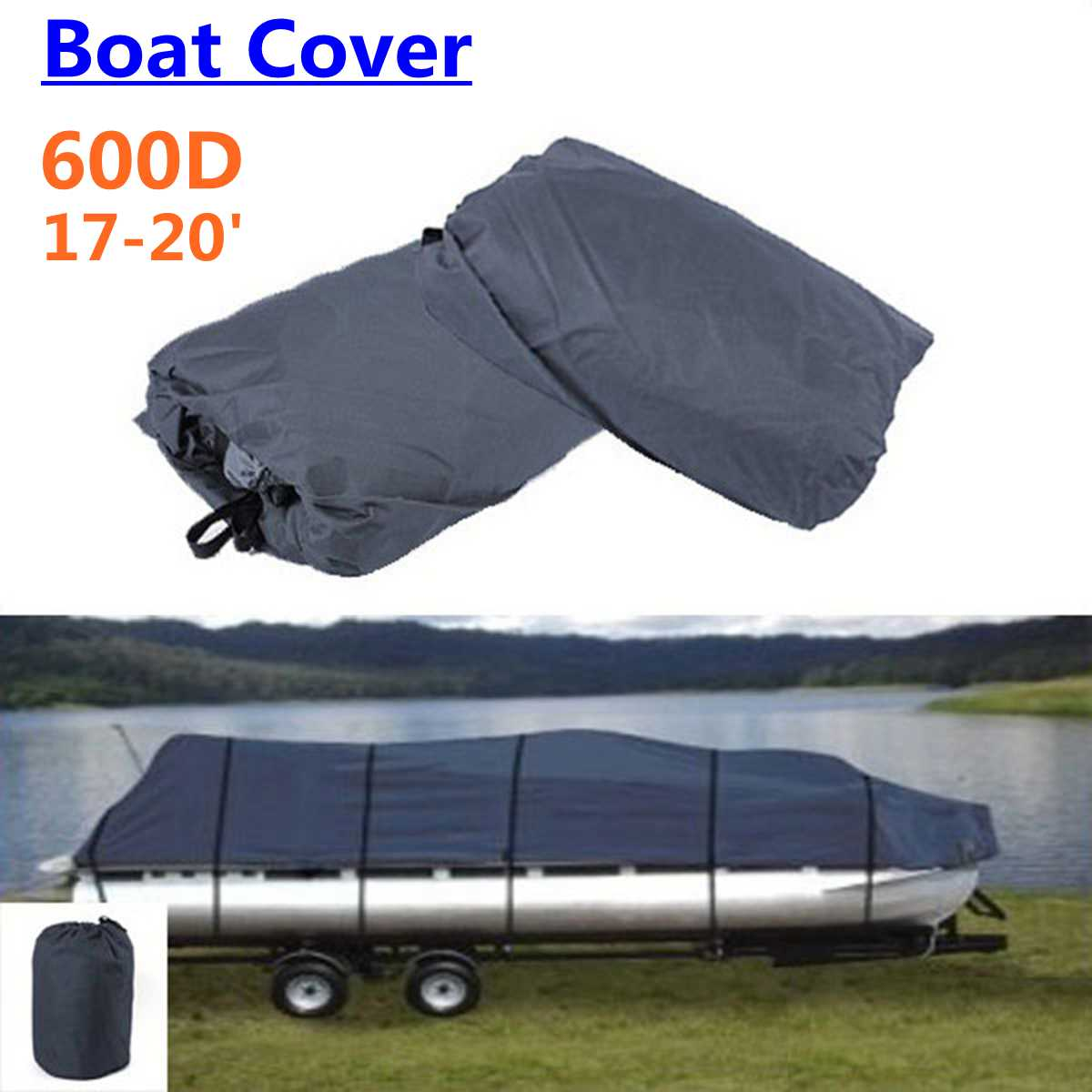 17' 18' 19' 20' Ft Pontoon Boat Cover 600D High Quality  Waterproof Polyester 610cm X 340cm