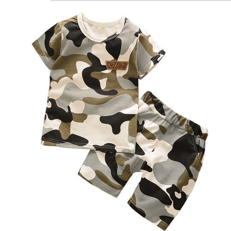 6f12f13358826 2019 New Summer Army Camouflage Baby Boy Girl Cotton Short Sleeve Shorts  2PCS/Set Top