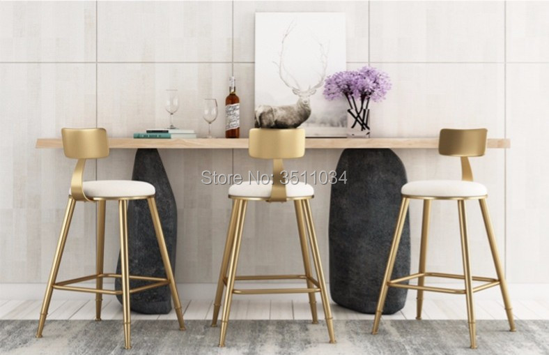 High Quality 45cm//68cm/85cm Nordic Bar Stool Bar Chair Creative Coffee Chair Gold High Stool Simple Dining Chair Wrought Iron