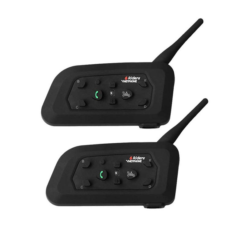 VNETPHONE - 2Pcs Motorcycle Bluetooth Headset Helmet Walkie-Talkie 1200M Mp3