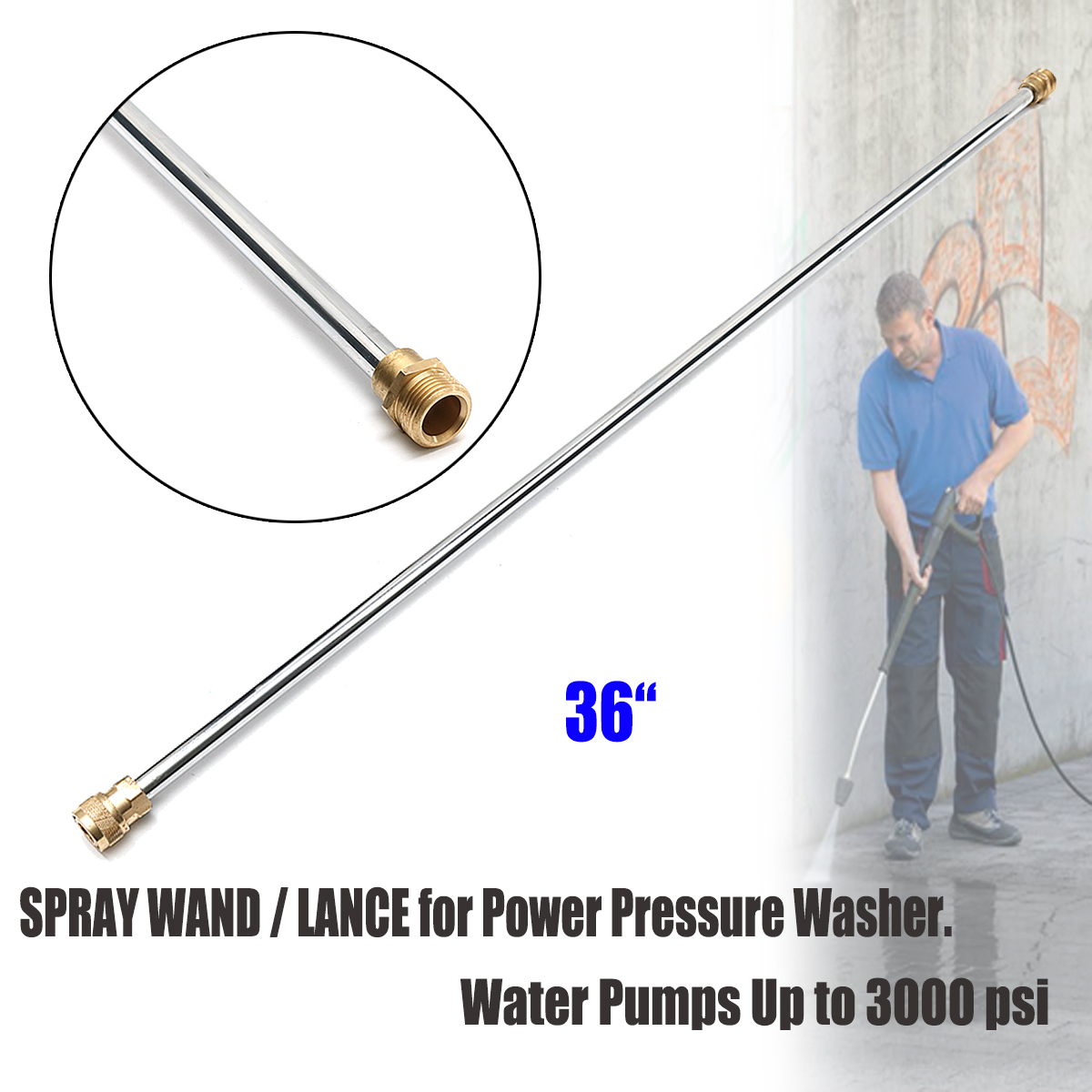 36'' 3000 Psi Wash Tube Car High Pressure Power Water Jet Washer Tools Auto Cleaner Watering Lawn Garden Styling