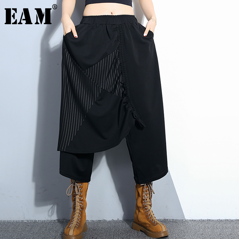 [EAM] 2019 New Spring Summer High Elastic Waist Black Striped Printed Drawstring   Wide     Leg     Pants   Women Trousers Fashion JQ068