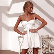 Summer Dress HOT Summer Women White Sexy Sleeveless Open Back Lace Up Loose Strap Short Mini Dress Size S-XL
