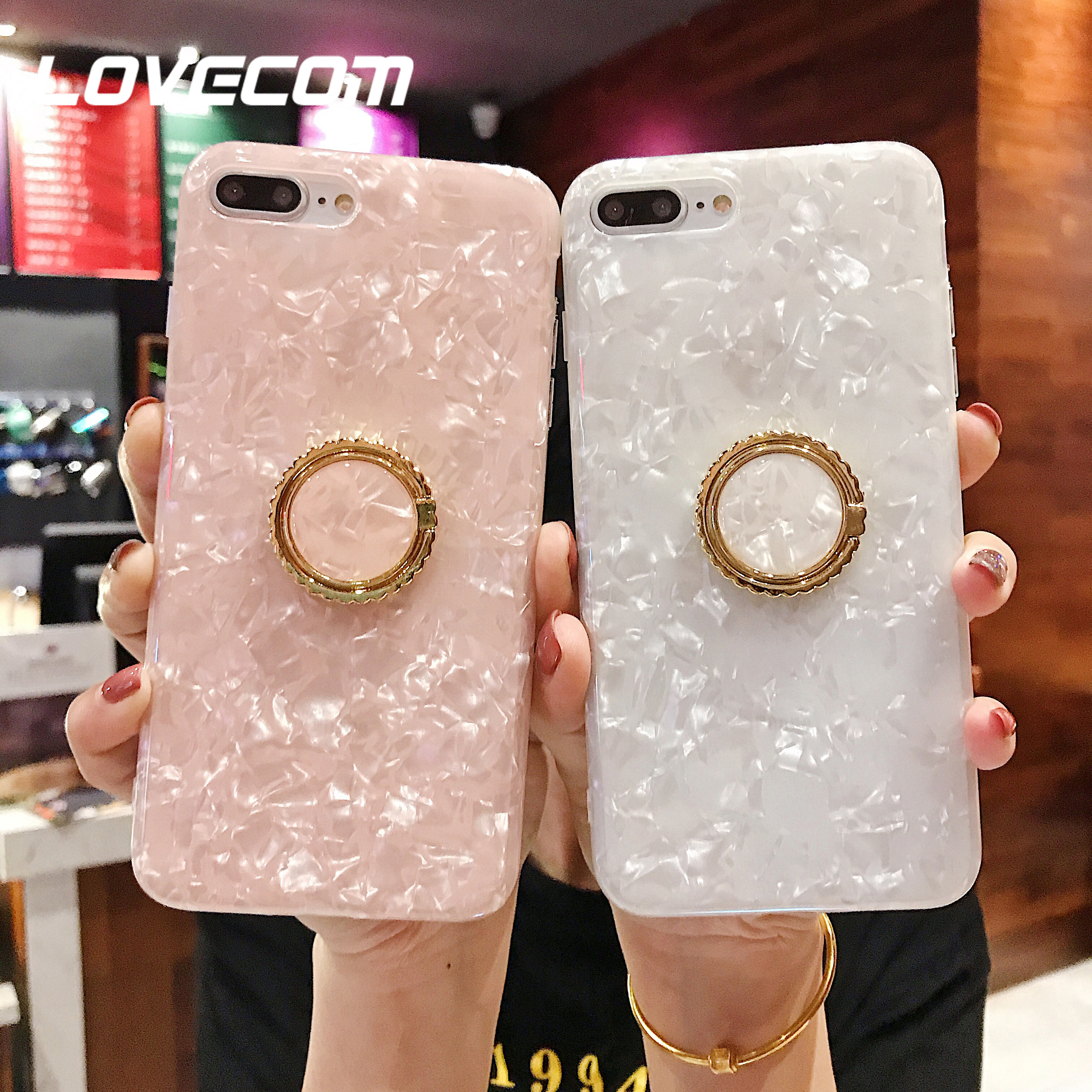LOVECOM Pink Dream Shell Ring Stand Phone Case For iPhone XR X XS Max 7 8 6S Plus Case Soft IMD Full Body Phone Back Cover Bag|Fitted Cases|   - AliExpress
