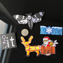 PGY Cloth Fabric Santa Claus Snowman Elk Embroidered Patches DIY Appliques Fun Craft Christmas Iron On Party Badge