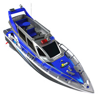 FBIL Police Remote Control Boat 1:20 Police Speed Boat Rc Boat Electric Full Function Large 4 Channel Patrol Boat Remote Contr