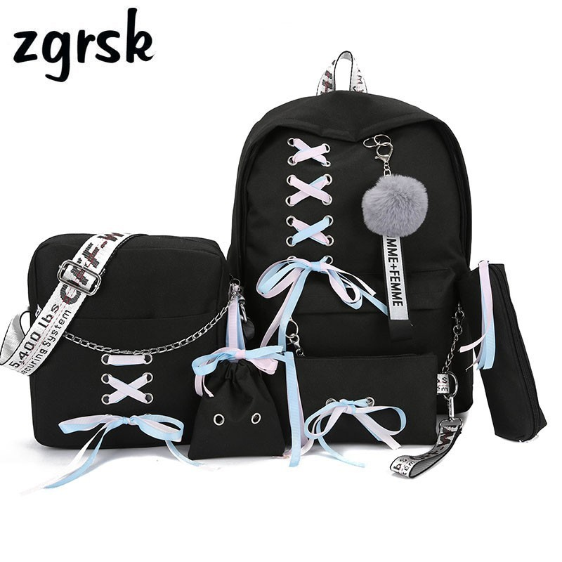 Chain USB Backpack Women Canvas 3pcs/set Women Backpack Teenager Girls Backpacks Shoulder Bag Female Student School Bags Tassel(China)