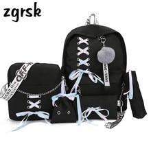 Chain USB Backpack Women Canvas 5pcs/set Women Backpack Teenager Girls Backpacks Shoulder Bag Female Student School Bags Tassel
