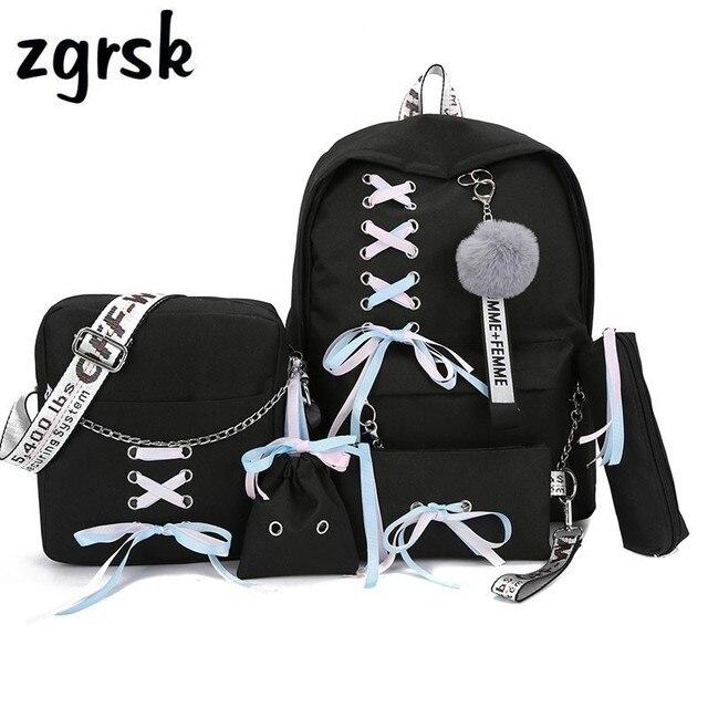 Łańcuch plecak z USB kobiety płótno 5 sztuk/zestaw kobiety plecak nastolatek plecaki dla dziewczyn torba na ramię kobieta Student School Bags Tassel