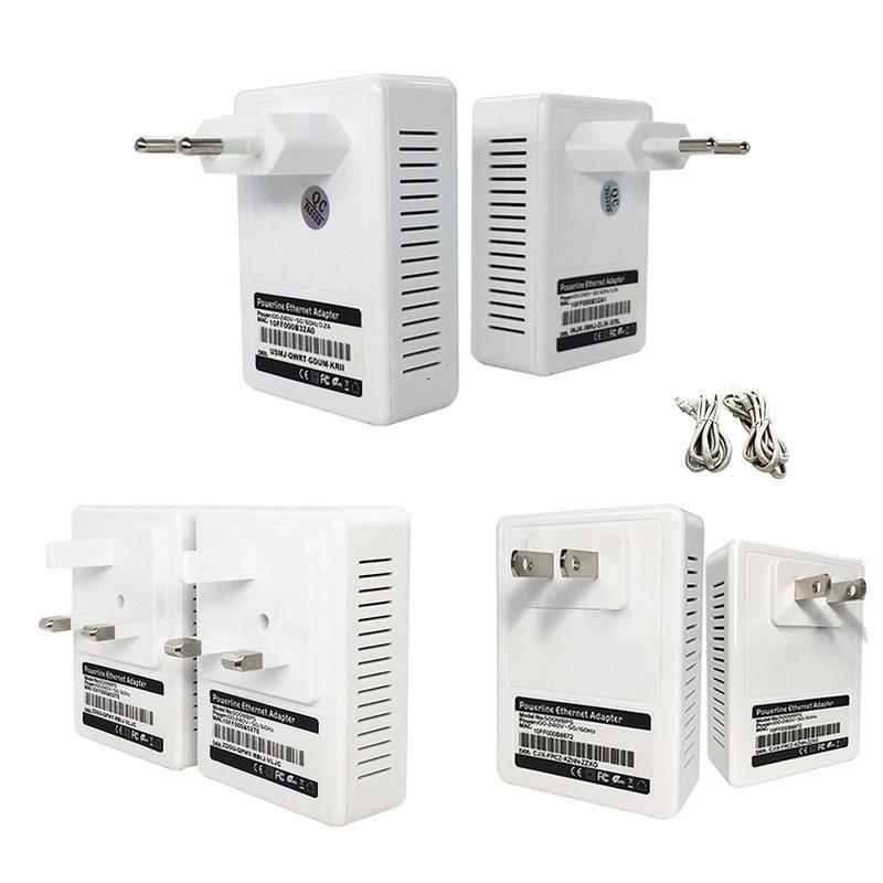 Kit d'adaptateurs Ethernet de ligne électrique 500 M pont de prise domestique Mini adaptateurs réseau de ligne électrique à grande vitesse IPTV US UK EU Standard 2 Pack