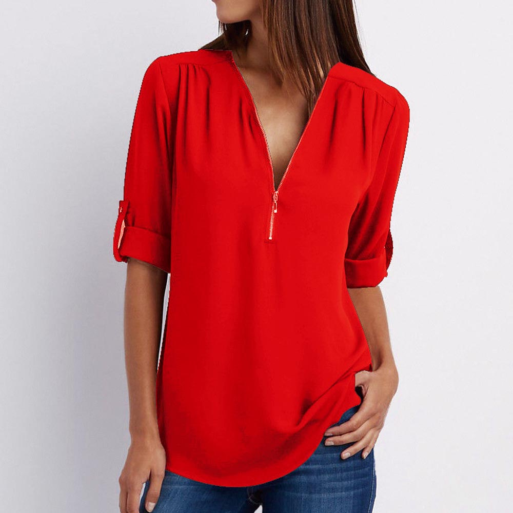 Women's Shirt V Neck Zipper Solid Color Long SLeeve Blouse Casual Loose Womens Tops and Blouses Blusas Chiffon Roupa Feminina