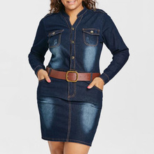 Plus Size 5XL Fitted Denim Jean Dress With Belt Women Sheath Stand Collar Long Sleeves Dresses Vestidos Causal Dress plus size sheath dress with long sleeves