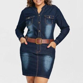 Plus Size 5XL Fitted Denim Jean Dress With Belt Women Sheath Stand Collar Long Sleeves Dresses Vestidos Causal Dress