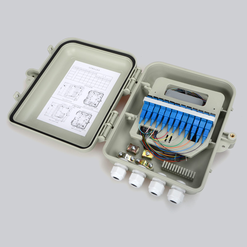 2PCS Optical Fiber Distribution Box <font><b>12</b></font> core full with SC Adapter Pigtail 1 : 8 Splitter factory wholesale Single mode ftth image