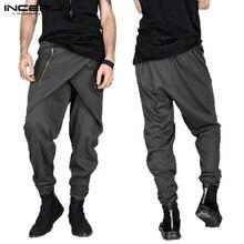 Fashion Skirt Men Pants Harem Pants Male Irregular Zipper De