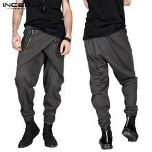 Falda de moda de los hombres pantalones Harem Pantalones Hombre cremallera  Irregular decoración Streetwear pantalones de c06290f0ed3