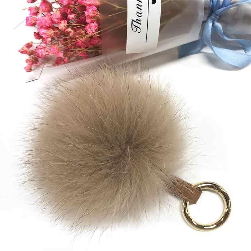Pele Pom Pom Keychain Encantos de Telefone Charme Saco Genuína Pele De Raposa Moda Decoração Ornamento