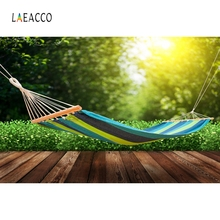 Laeacco Outdoor Hammock Grassland Scenic Backdrop Photography Backgrounds Customized Photographic Backdrops For Photo Studio