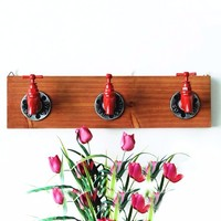 New Decorative Hooks Wooden Iron Faucet Wall Key Hanger Retro Storage Rack Wall Coat Rack Shelf For Home Decoration Accessories