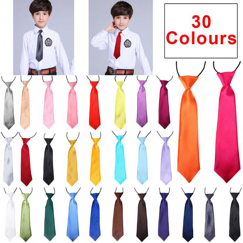 School Boy Uniform Necktie Kids Children Wedding Tie Solid Colour Elastic Band