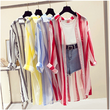 New Long Sleeve Striped Beach Kimono Women Summer Autumn 2018 Long Blouse Thin Sun Cover U