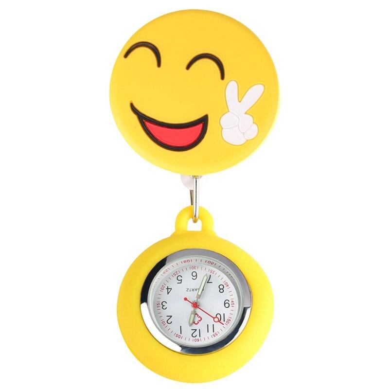 Fashion Cute Smiling Clip-on Fob Brooch Pendant Hanging Quartz Pocket Watch Adjustable Clock For Medical Doctor Nurse Watch Hour