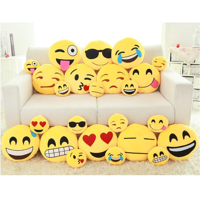 Throw Pillows Doll Decorative Emoticon-Cushion Smiley Face Round Plush Emoji Cute Cartoon