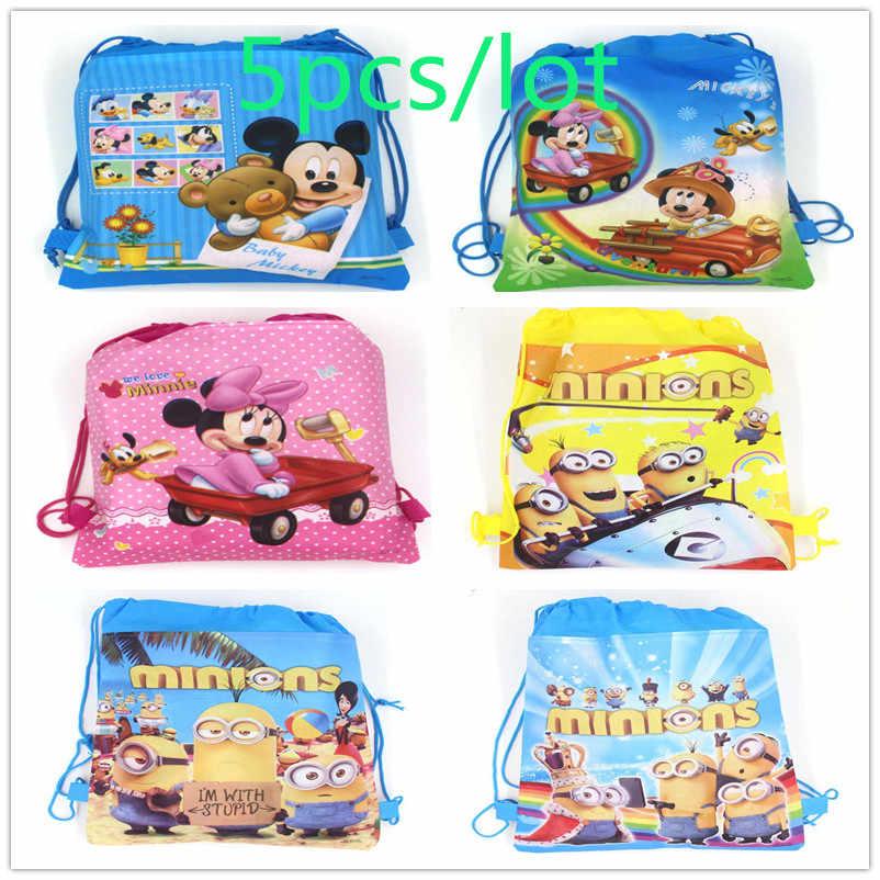 5 Pcs Mickey Mouse Minions Thema Baby Shower Candy Gift Bag Kleurrijke Trekkoord Tassen Kid Cartoon String School Rugzak Supply