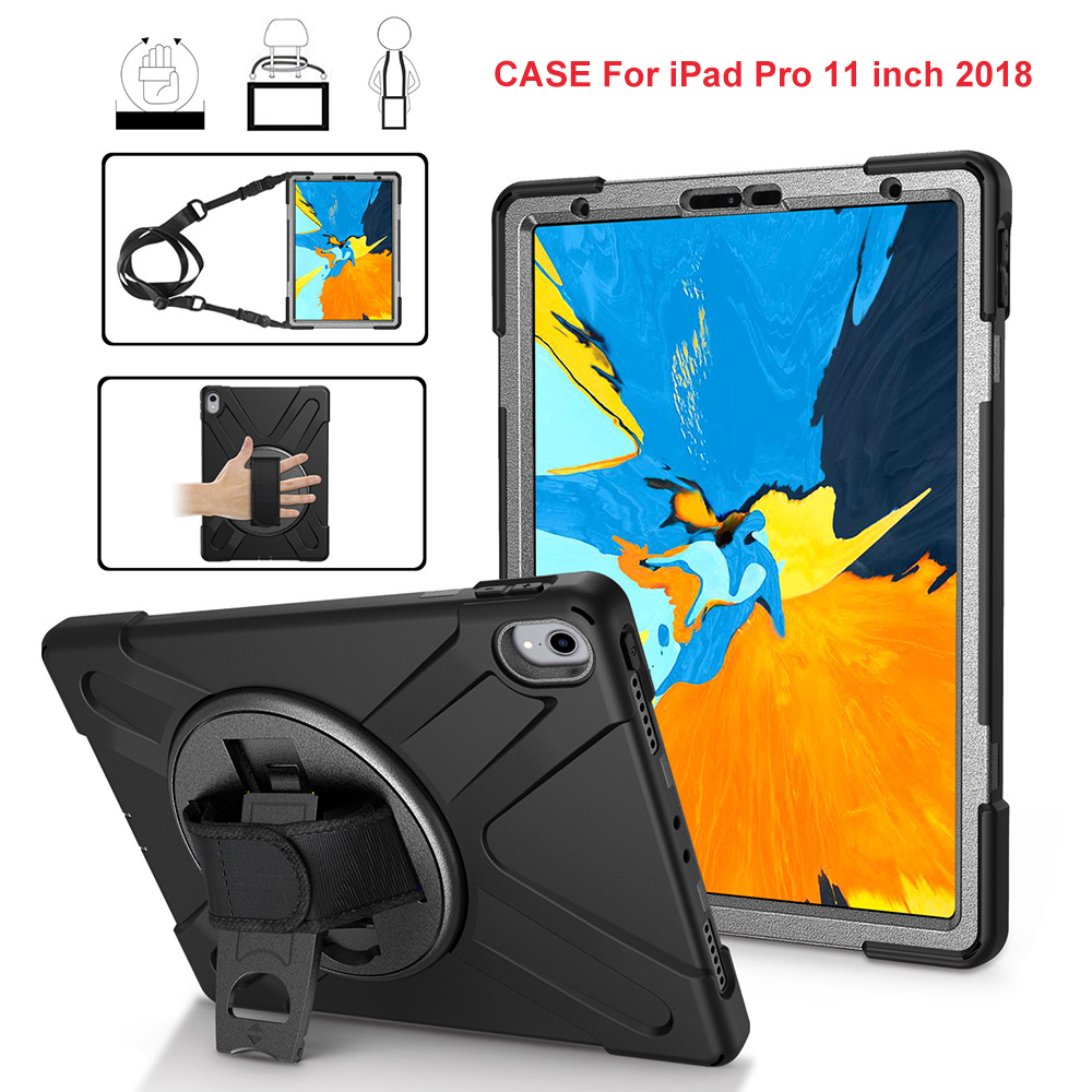 For Coque Ipad 9.7 Inch 2018 2017 Case 360 Rotating Hand Strap Shoulder Strap Shockproof Stand Cover Built-in Screen Protector Tablets & E-books Case
