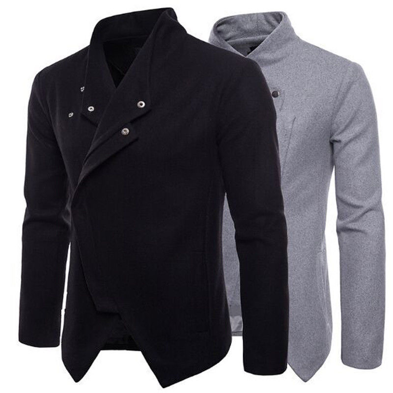 New Men's Slim Fit Stand Collar Coat Tops Military Jacket Winter Outwear Single Button Blazer