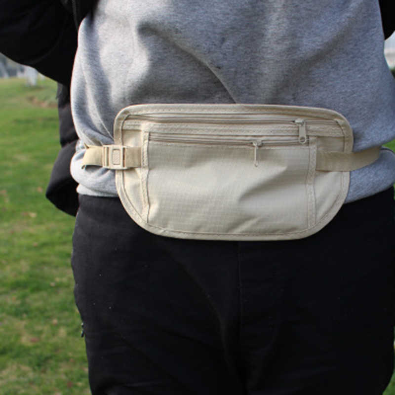 Women Men Fanny Pack Hip Waist Belt Money Bag Pouch Unisex Small Travel Sports White Mobile Phone Secret Bag Hide Pockets Belt