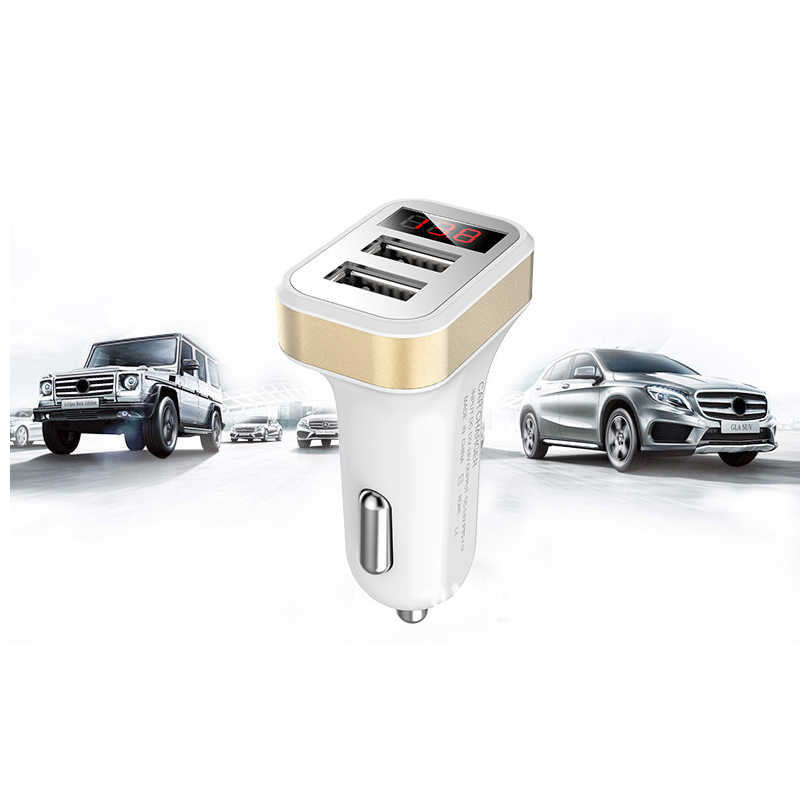 Dual USB Car Charger Adapter 5V 3.1A Digital LED Voltage/Current Display Auto Vehicle Metal Charger For Smart Phone/Tablet