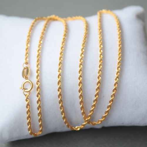 AU750 Pure 18k Yellow Gold Lucky 1.5mm W Rope Chain Necklace/ 1.4g / 15.7inch