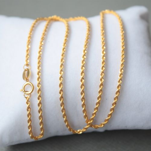 AU750 Pure 18k Yellow Gold Lucky 1.5mm W Rope Chain Necklace/ 1.4g / 15.7inchAU750 Pure 18k Yellow Gold Lucky 1.5mm W Rope Chain Necklace/ 1.4g / 15.7inch