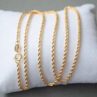 AU750 Pure 18k Yellow Gold Lucky 2mm W Rope Chain Necklace/ 1.72g / 15.7inch 17.7inch