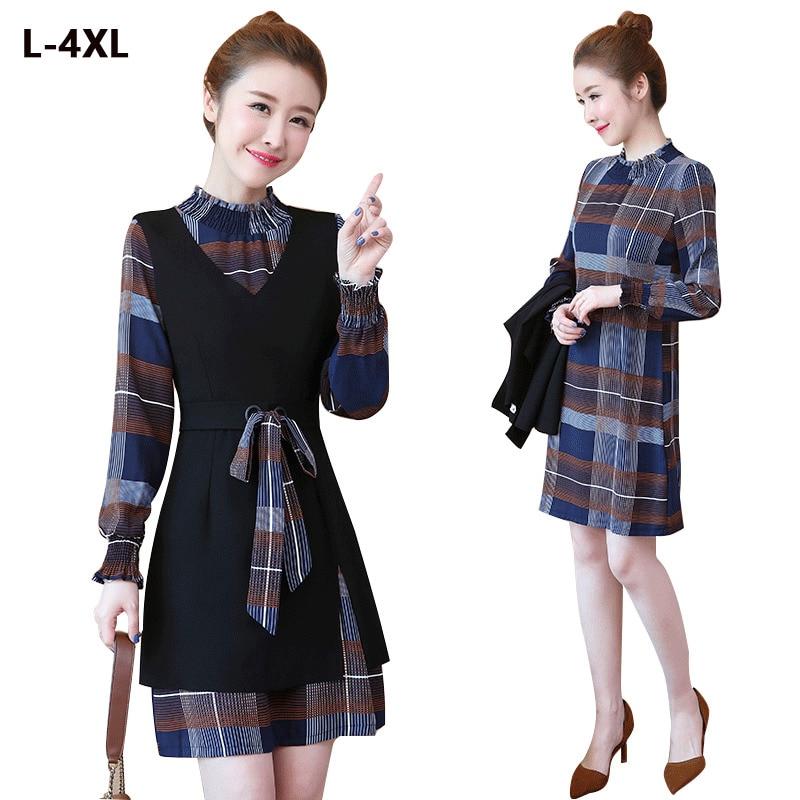 Plus Size 4XL Women Dress Long-sleeved Bow Plaid Black With Belt Two-piece Dress Female Slim Casual Vestido Sexy Party Dress Hjk 33