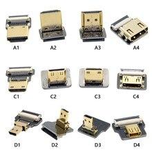 Плоский кабель FPC, совместимый с HDMI, 10-80 см, микро HDMI-совместимый мини-адаптер 90 градусов для HDTV FPV антенны