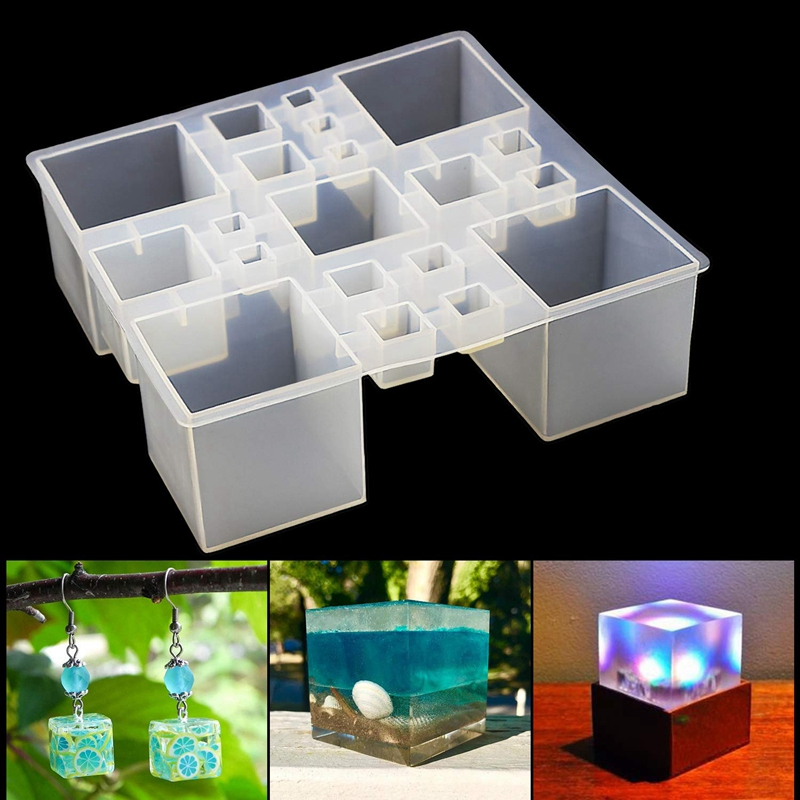 Square Resin Silicone Mold Resin Cube Molds, Silicone Molds For Resin Epoxy Molds For Jewelry Magic Cube Paperweight Specimen