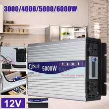 Intelligent Screen Pure Sine Wave Power Inverter 12V/24V To 220V 3000W/4000W/5000W/6000W Converter LCD Screen(China)