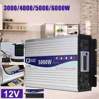 Intelligent Screen Pure Sine Wave Power Inverter 12V/24V To 220V 3000W/4000W/5000W/6000W Converter LCD Screen