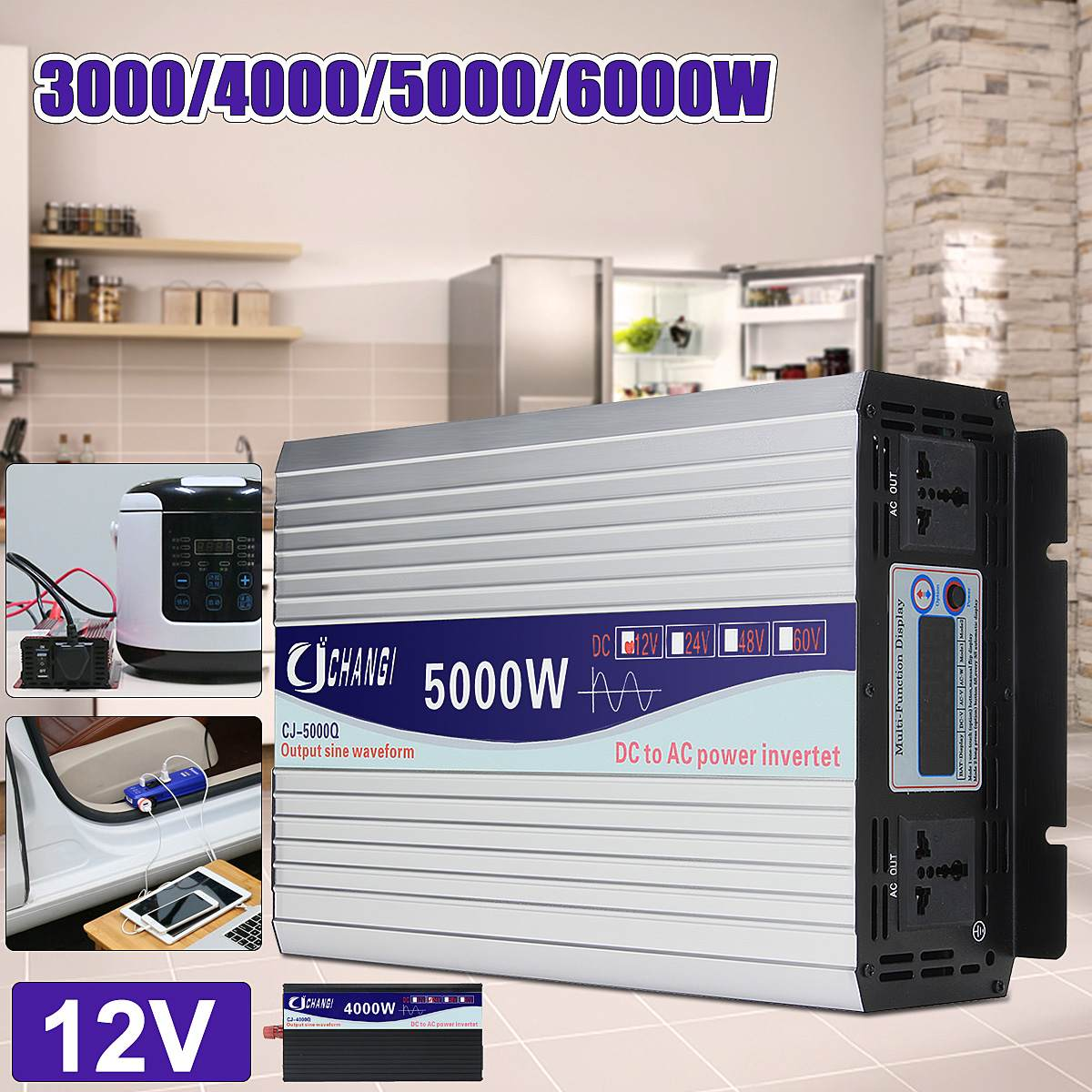 Intelligent Screen Pure Sine Wave Power Inverter 12V/24V To 220V 3000W/4000W/5000W/6000W Converter LCD Screen