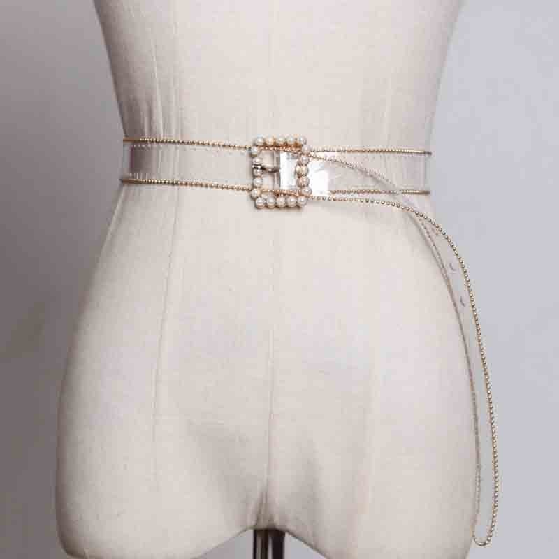 yalee New Fashion 2019 Spring Summer Square Pin Buckle Transparent Girdle Pearl Diamond Pvc Leather Long Belts Women Y798 Diplomatic