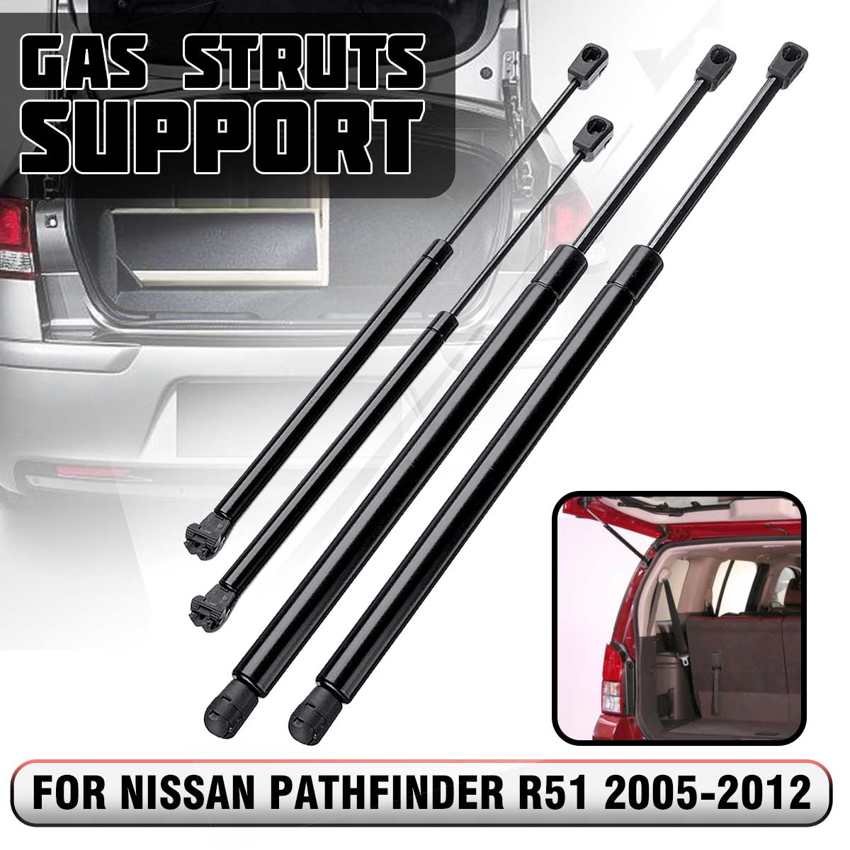 4 pièces Lunette arrière Hayon Botte Vérins À Gaz Barre de Support Pour Nissan Pathfinder R51 2005 2006 2007 2008 2009 2010 2011 2012