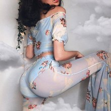 V Neck T Shirts Angel Print Mesh See Through Flare Pant Two Piece Set Short Sleeve Floral Crop Tops Cupid 2 PCs Sets
