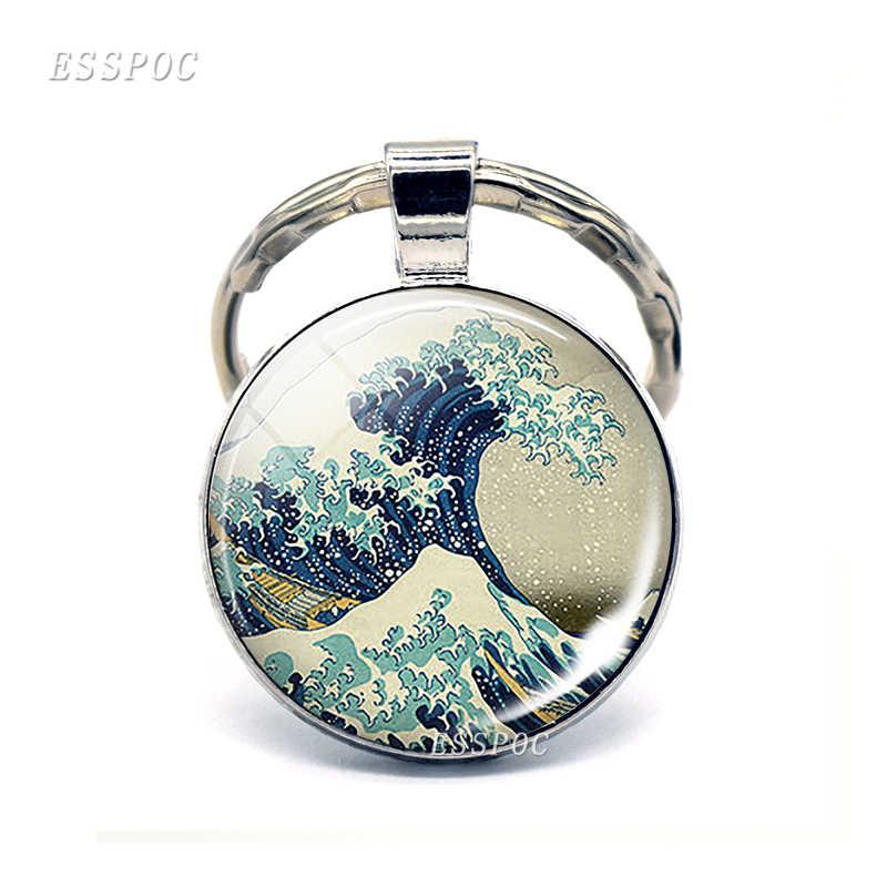 Большая волна в Kanagawa искусство брелок серфера Ретро подарок серфера Кабошон стеклянный брелок для ключей кольцо масляная живопись