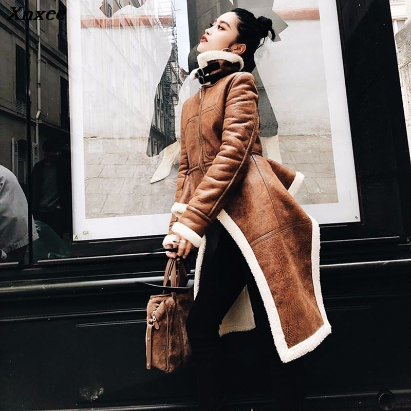 Xnxee Irregular Fleece Coats Pu Leather Turtleneck Zipper Midi Long Coat Winter Thick Female Large Size