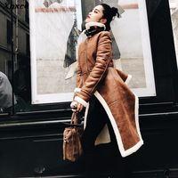 Xnxee Irregular Fleece Coats Pu Leather Turtleneck Zipper Midi Long Coat Winter Thick Female Large Size Tide Clothing