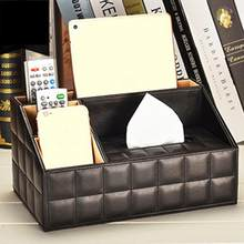 PU Leather Multi-function Tissue Box Living Room Coffee Table Tray Remote Control Storage Box Home Storage Supplies(China)