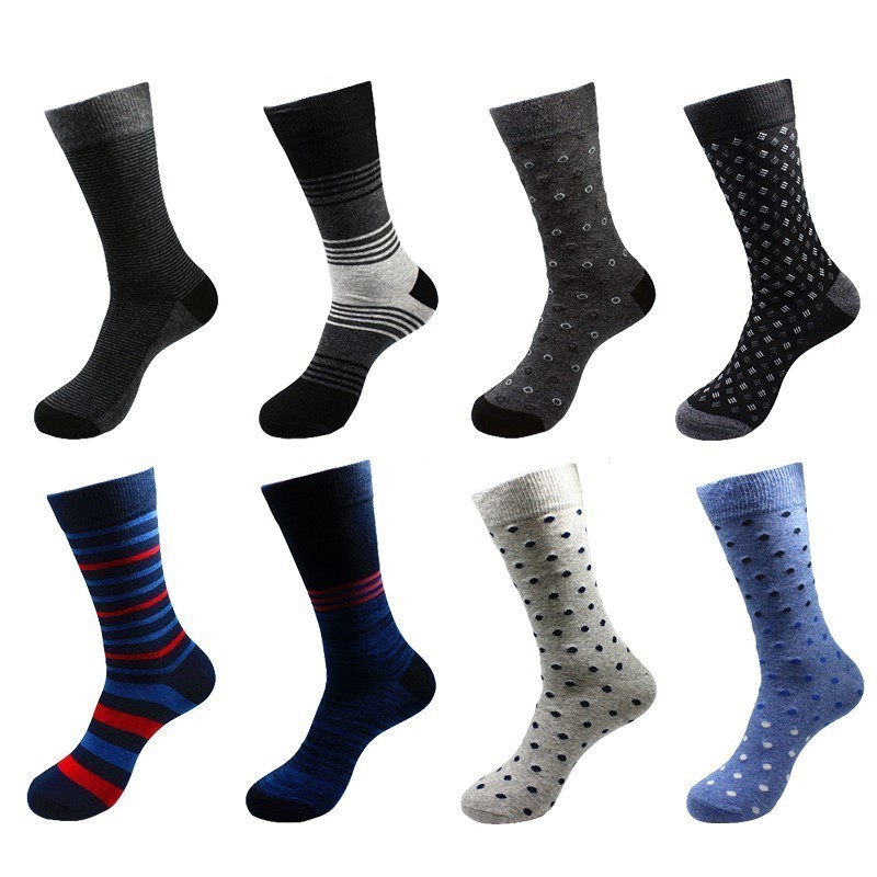 PEONFLY 2 Pairs/lot Men Socks Cotton Classical Business Casual Socks Spring Summer Striped Plaid Breathable Male Sock Meias
